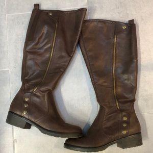 BareTraps Sz 7-1/2 Brown Riding Boots (Wide calf)